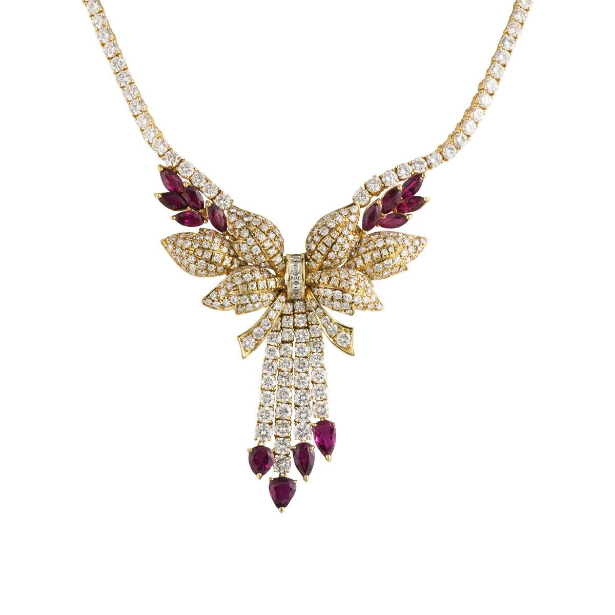 Yellow Gold Diamond and Ruby Necklace